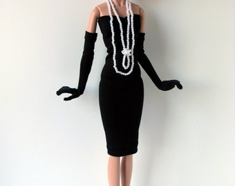 Black strapless dress with flapper style faux pearl necklaces and black gloves for 16 inch fashion dolls