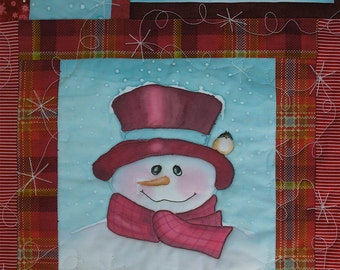 Snowman Table Runner or Wall Hanging Patchwork with Hand Painted Blocks Wallhanging Quiltsy Handmade