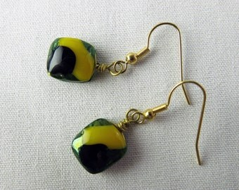 Yellow Green Black Fused Glass Earrings