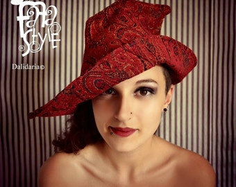 Witch Hat,Red,Wicca,Magician,Pixie,Halloween,Magic,Elf,Fantasy,Steampunk,Fairy,Burlesque,Vaudeville,Victorian,Gothic,Costume.Fafastyle