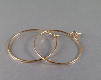 Hammered 14k Gold Filled Earrings in Four Sizes 1 Inch, 1.5 Inch, 1.75 Inch and 2 Inch 14kt Gold Filled Jewelry