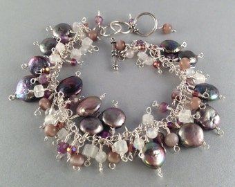 """Amethyst, Rainbow Moonstone and Pearl Sterling Silver Cha Cha Bracelet Adjustable Fits 6.5"""" to 8"""" Wrist Previously 80 Dollars ON SALE"""