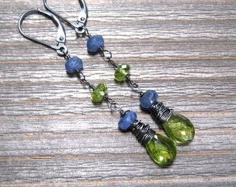 Peridot And Sapphire Dangle Earrings In Oxidized Sterling Silver, February, August Birthstone Jewelry, Green And Blue Gemstone Earring