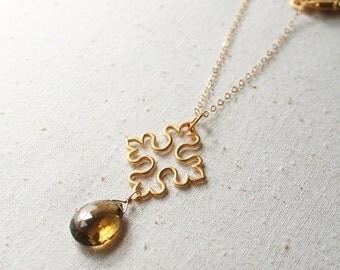 Byzantine Cross Necklace, Gemstone Jewelry, Gold Necklace