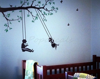 Children Playroom Wall Decals Swing Wall Decal Boys Girls Room Decors Tree Branch Stickers- Children play swing - Vinyl Wall Decals Stickers