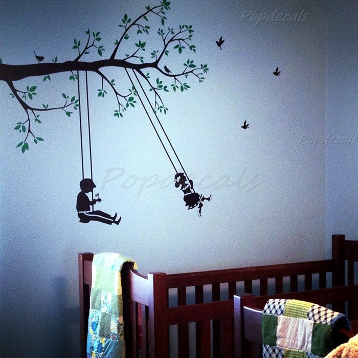 4444 in children play swing children playroom wall decals