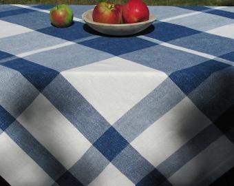 Artisan Hand Woven Blue & White Plaid Cotton Tablecloth, Classic French Country Farmhouse Decor, Coastal Beach Cottage Dining Table Decor