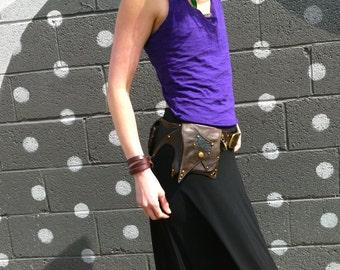 Nebula Chocolate leather and python 3 pocket utility belt bag