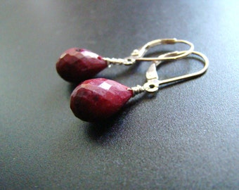 Ruby drops Earrings - Indian Gemstones - Sterling Silver, Gold, Rose Gold, tarnished silver
