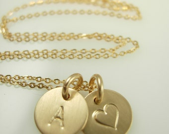 Personalized Initial Necklace - Hand Stamped Necklace - Initial Necklace Silver or Gold