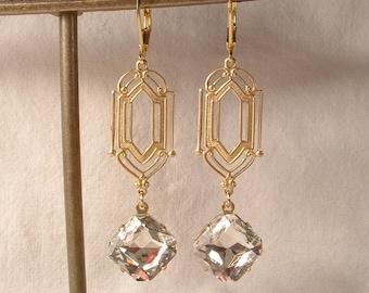 Vintage Art Deco Clear Rhinestone Gold Dangle Earrings, Long 1920s Bridal Earrings, Flapper Great Gatsby Wedding Jewelry Bridesmaids Gift