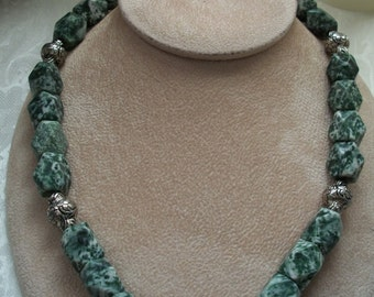 Tree Agate Necklace, Gemstone Necklace, Chunky Beads, by Brendas Beading on Etsy