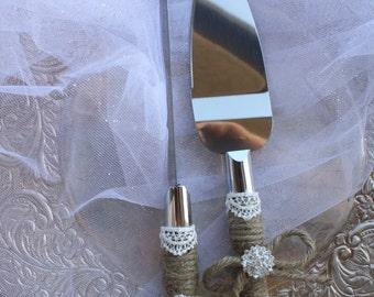 Wedding Cake Server And Knife Set - Country Rustic Chic Wedding -Cake Server Set - Jute and Lace Cake Server Set
