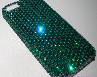 Rich Emerald Green Crystal Diamond Rhinestone BLING Back Case for New iPhone SE 5 5S handmade using 100% Swarovski Elements