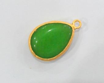 26x19 mm. Green Pendants , Gold Plated Drop Bezel ,   G934