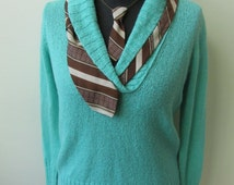 Teal Green Vneck Sweater, Repurposed Necktie Collar, Upcycled Sweaters, Light Green Sweater, Sweater Refashion, Funky Hipster Clothing