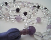 RESERVED FOR KAYA - Hand Knotted Clear Quartz, Lavender Amethyst, Amethyst and Rose Quartz Mala, 108 Beads