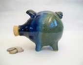 Piggy Bank - Midnight Blue and Green-Teal Speckled - Handmade on the Potters Wheel