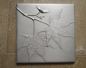 Japanese Maple Leaf 6 x 6 inch Botanical Tile, Recycled Cast Aluminum, Made to Order