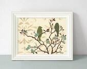 Bird Art Print, Shabby Wall Decor