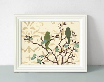 Bird Art Print, Shabby Wall Decor