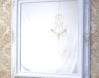"WHITE FRAMED MIRROR For Sale Regency Decor Unique Vanity Mirror Bathroom 31""x 27"" Large White Framed Mirror Black Ivory Red Silver"