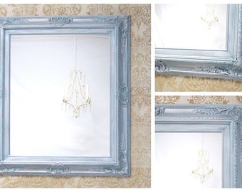White hollywood regency mirror for sale decor by for Teal framed mirror