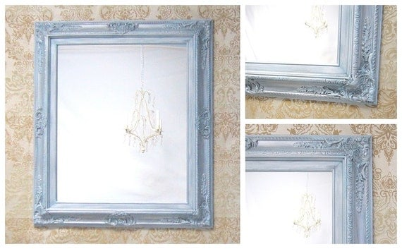 FRAMED BATHROOM MIRRORS For Sale Silver Teal by RevivedVintage