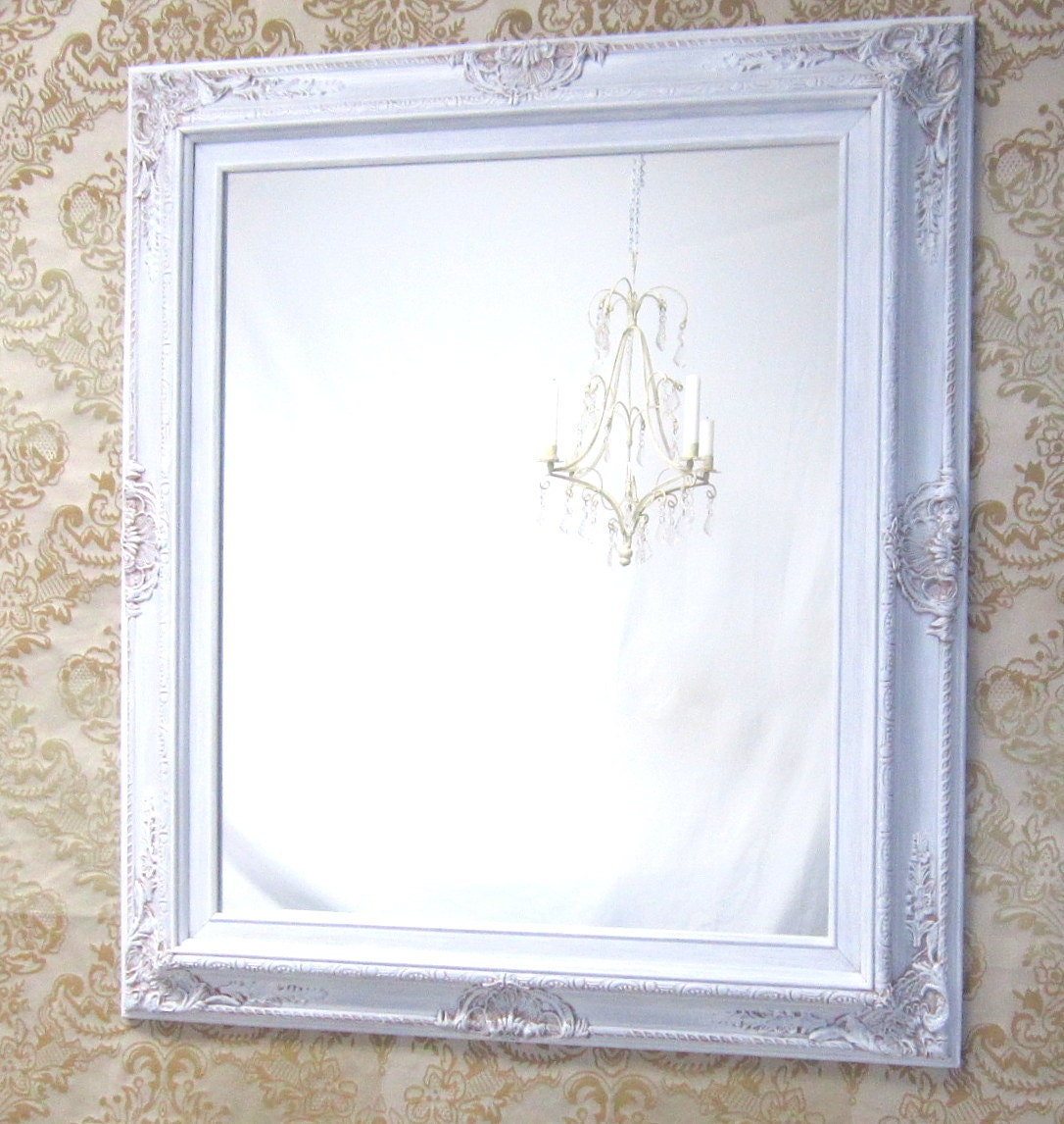 WHITE FRAMED MIRROR For Sale Regency Decor Unique Vanity
