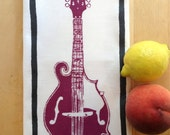 Tea Towel. Mandolin. Plum and Dark Gray. Hand Screen Printed.