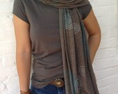 Screen Printed Jersey Scarf. Coffee with Blue and Silver Mosaic
