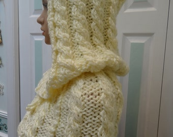 HOODED CAPE, Ivory / cream, hand knitted, cable pattern, beaded draw string neck, triple knit worsted weight yarn.