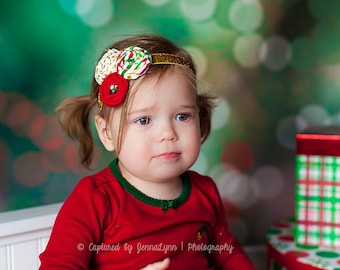 Jingled- triple rosette headband in red, green and metallic gold with perl accents
