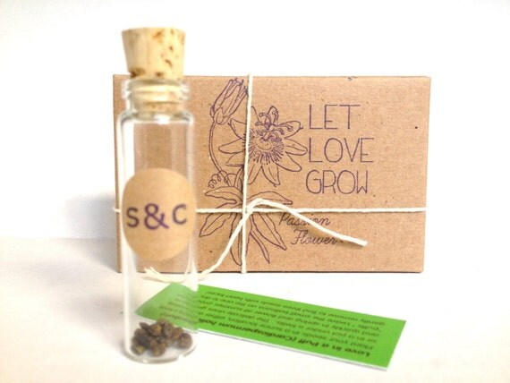 Rustic Seed Wedding Favors. Passion Flower Favors. Set of 10 Eco-Friendly Favors with Custom Stamp
