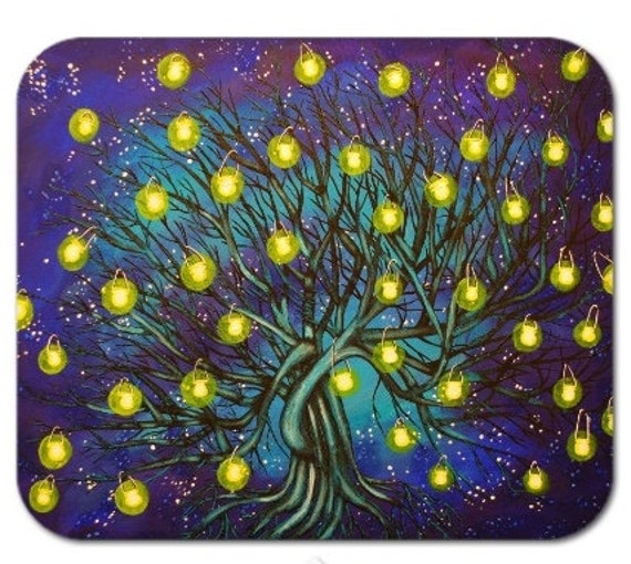Mousepad Mouse Pad Fine Art Painting The Lantern Tree Night Sky Stars Royal Blue Lanterns Glowing