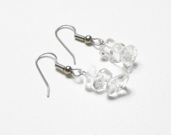 "Clear quartz chip earrings ""Ice Storm"""