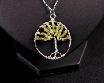 "Peridot Tree of life necklace - ""August Splendour"" handmade silver wire wrapped pendant"