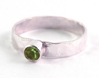 Peridot Bezel Set Sterling Silver Stacking Ring