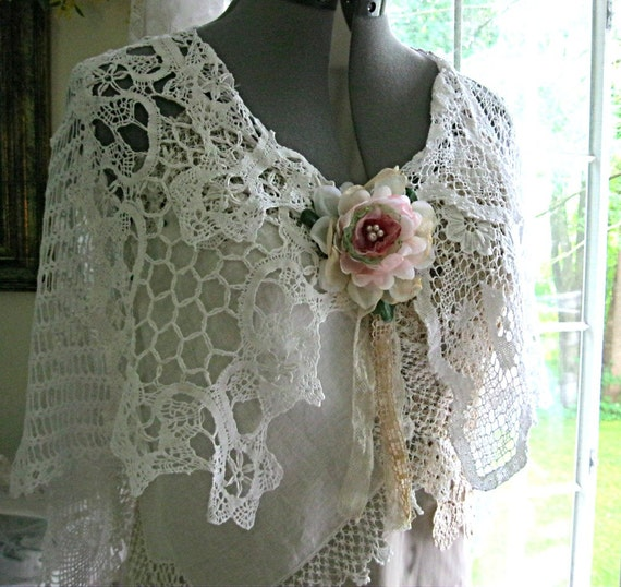 Crochet Lace Wedding Shawl Pattern : Crocheted lace shawl lace wedding shawl white lace bridal