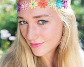 Hippie Rainbow Daisy Headband, Daisy Multi Colour Elastic Trim Headband, Hippie Headband, Cute Summer Hair Accessory, Floral Hair Band