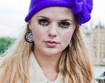 Bright Purple Knitted Bow Headband, Knitted Headband, Oversized Bow Headband, Cute and Cosy Ear Warmer