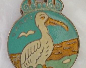Vintage Bird Clip Greece Brass Enameled Large Clip