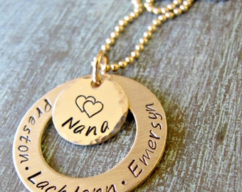 Personalized Gold Grandma Necklace, Grandmother, Hand Stamped, Gift for Mom, Kids Name Necklace, Mother's Day Gift