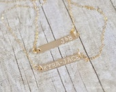 Personalized Gold Bar Layering Necklace - Hand Stamped with Name or Initials of your Choice