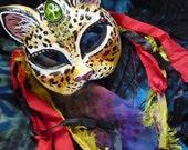 RESERVED Bast Ritual Mask - Ankh, Spiritual, Cat Goddess, Love, Egyptian, Pagan, Bastet, Sensuality, Joy, Blessings, Sun and Moon, Upcycled