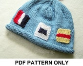 Knit Hat Knitting Pattern - Nautical Flag Hat Pattern - the JACQUES Hat (Newborn Baby Toddler Child & Adult sizes incl'd)