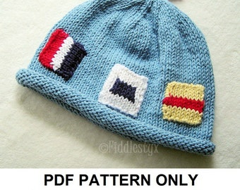 Knitting Pattern - Nautical Flag Hat Pattern - the JACQUES beanie (Newborn, Baby, Toddler, Child & Adult sizes incl'd)