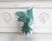Plush Hummingbird Pillow. Hand Woodblock Printed. Choose Any Color. Made to Order. Xmas Order deadline DEC 3rd