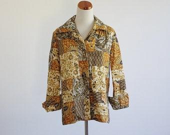 Vintage Boho Jacket -- 70s Jacket -- Brown Yellow Hippie Jacket -- Large