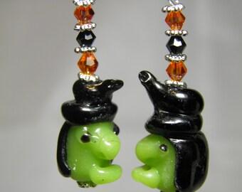 Witch Earrings, Halloween Earrings, Witch Jewelry, Sterling Silver, Artisan Lampwork Glass Beads, Swarovski Crystals, Halloween Jewelry OOAK